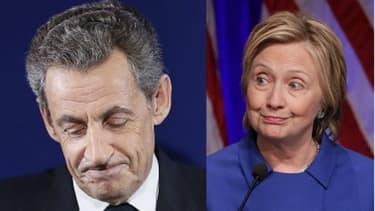 Nicolas Sarkozy lorsqu'il a reconnu sa défaite à la primaire le 20 novembre et Hillary Clinton le 16 novembre lors de sa première apparition après son échec à l'élection présidentielle américaine