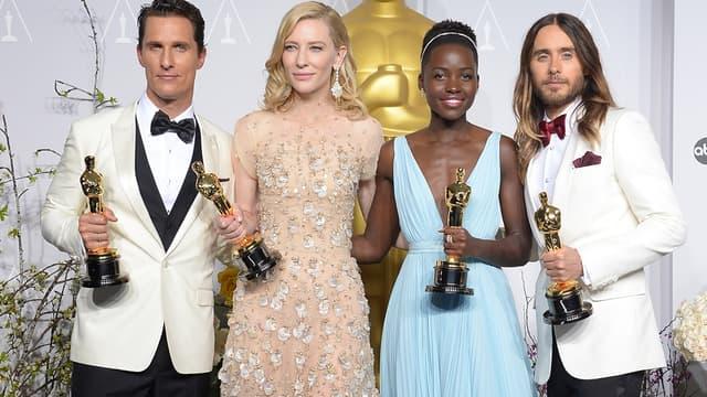 Matthew McConaughey, Cate Blanchett,  Lupita Nyong'o et Jared Leto aux Oscars