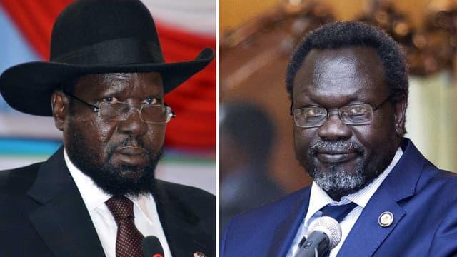 Le Président sud-soudanais Salva Kiir (gauche), et son ancien Premier ministre Riek Machar