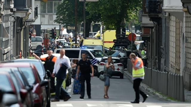 A Liège sur les lieux de l'attaque, le 29 mai 2018.