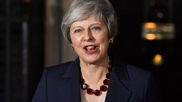 Theresa May ce mercredi soir, à l'issue de la réunion de son cabinet au 10 Downing Street.