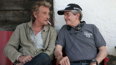 """Johnny Hallyday sur le tournage de """"Salaud, on t'aime"""" avec Claude Lelouch en 2014"""