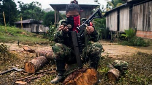 """Un membre de """"Omar Gomez"""", rattaché à l'ELN (Armée nationale de libération) en Colombie, le 20 novembre 2017 (Image d'illustration)"""