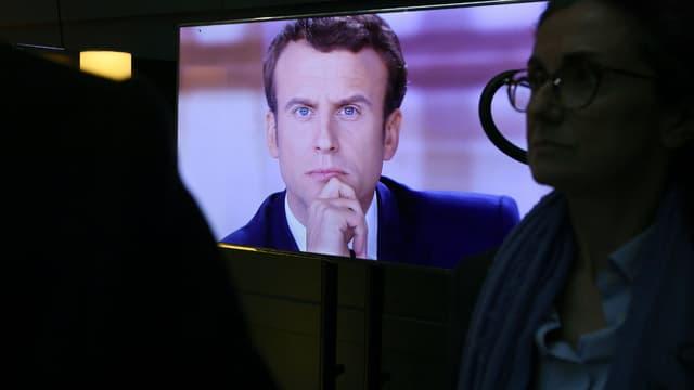 Emmanuel Macron à la télévision.