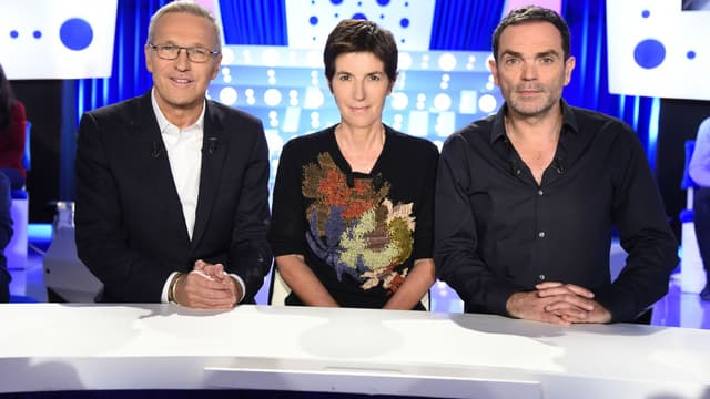 """Laurent Ruquier, Christine Angot et Yann Moix sur le plateau de l'émission """"On n'est pas couché"""""""