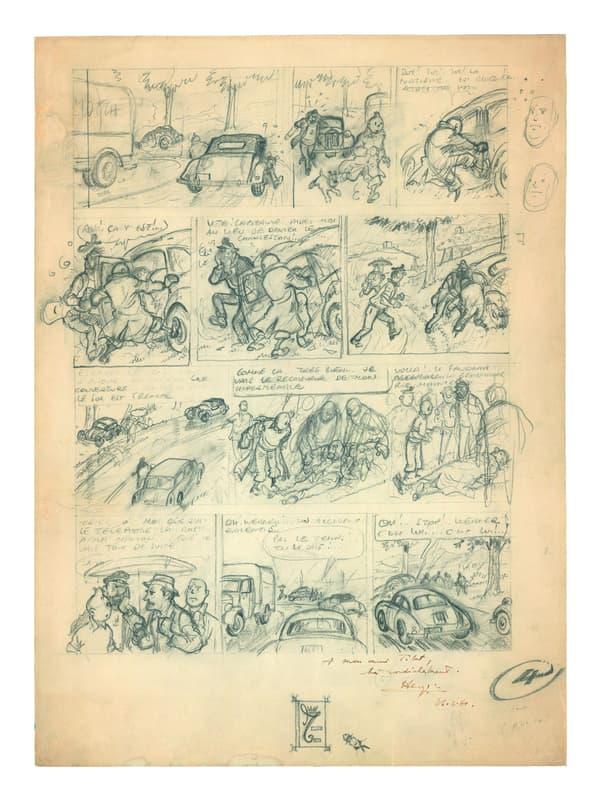 La planche de Tintin et le Thermo-Zéro estimée entre 200 et 250.000 euros