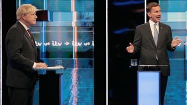 Boris Johnson (à gauche) et Jeremy Hunt, le 9 juillet 2019 lors d'un débat sur la chaîne britannique ITV.