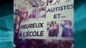 Des familles de personnes autistes samedi, lors d'une manifestation à Paris.