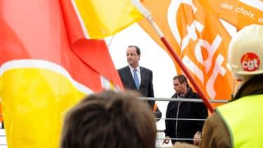 François Hollande, lors de sa visite à Florange en février 2012.