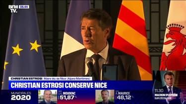 """Municipales: réélu à Nice, Christian Estrosi """"dit sa reconnaissance"""" aux habitants"""