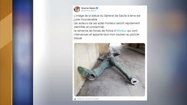 La statue dégradée, tweetée par l'élue Séverine Gipson.