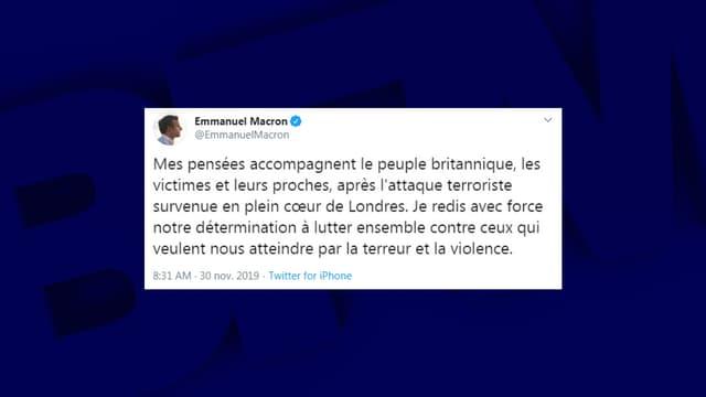 Le tweet d'Emmanuel Macron, au lendemain de l'attaque terroriste qui a endeuillé Londres, le 29 novembre 2019.