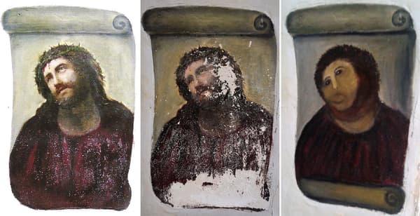 """De gauche à droite: l'Ecce Homo tel qu'il avait été peint, la peinture dégradée, la """"restauration"""" opérée par Cecilia Gimenez."""