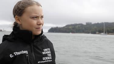 Greta Thunberg le 14 août 2019 à Plymouth (Royaume-Uni) avant de partir à bord du Malizia II pour traverser l'Atlantique.