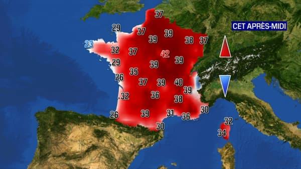 Les températures attendues ce vendredi.
