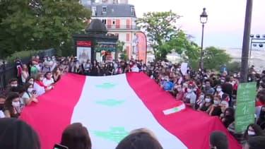 Paris: au pied du Sacré-Cœur, l'hommage aux victimes des explosions de Beyrouth