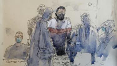 Croquis d'audience réalisé le 9 septembre 2021 montrant Salah Abdeslam, l'un des principaux accusés au procès des attentats du 13 novembre 2015 à Paris