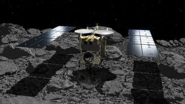 Illustration de la sonde Hayabusa2 sur l'astéroïde Ryugu.