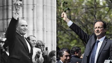 François Mitterrand en 1981 et François Hollande en 2015
