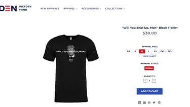 """Un t-shirt """"Will you shut up, man?"""" en vente sur le site de Joe Biden"""