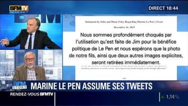 """Tweets de Marine Le Pen:  """"La réaction est proportionnelle à la violence de l'attaque"""", Wallerand de Saint-Just"""