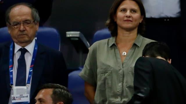 La ministre déléguée aux Sports Roxana Maracineanu et le président de la Fédération française de football, Noël Le Graet, assistent au match qualificatif pour l'Euro-2020 entre la France et Andoree, le 10 septembre 2019 au Stade de France à Saint-Denis