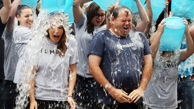 Des participants au Ice bucket challenge à New York.
