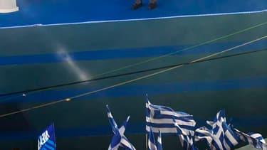 Lors de son dernier meeting électoral à Athènes avant les élections législatives de dimanche, le chef de file des conservateurs de Nouvelle Démocratie, Antonis Samaras, a déclaré que la Grèce devrait choisir dimanche entre l'euro et la drachme. /Photo pri