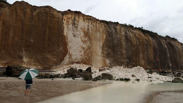 L'éboulement de falaise s'est produit sur la plage du Petit Ailly, à Varengeville-sur-Mer, ce vendredi en début d'après-midi.