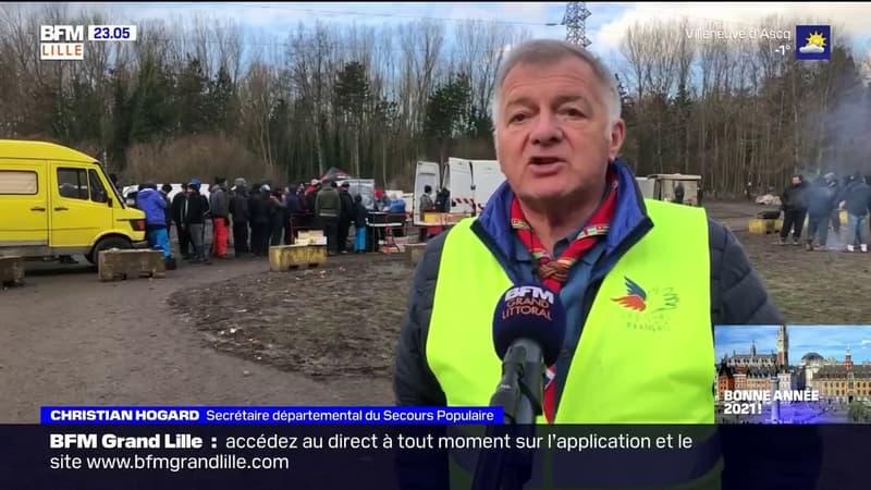 Grande-Synthe: des associations distribuent des repas aux migrants à l'occasion du réveillon
