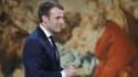 Emmanuel Macron après ses voeux à la presse à l'Elysée le 3 janvier 2018 à Paris.