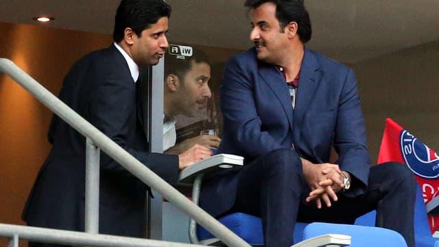Nasser Al-Khelaïfi, le président du PSG, et le Cheikh Al Thani, émir du Qatar