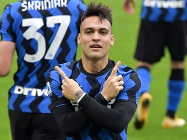 Lautaro Martinez après son but lors du derby milanais le 21 février 2021