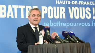 Xavier Bertrand, président de la région Hauts-de-France, durant un meeting à Maubeuge, le 3 mai 2021