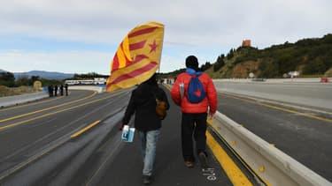 Des indépendantistes catalans à la frontière franco-espagnole, le 11 novembre 2019