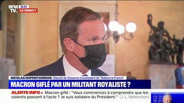 """Macron giflé: """"Cela montre à quel point la violence se substitue au bulletin de vote"""", estime Nicolas Dupont-Aignan"""