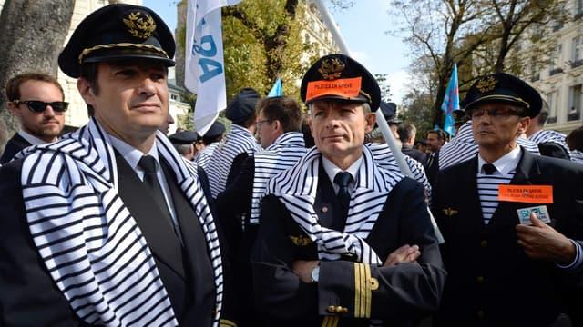 Les pilotes Air France lors d'une manifestation en 2014
