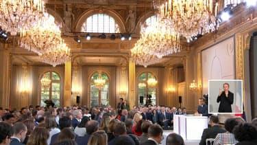 La salle de l'Élysée ou s'est tenue la conférence de presse, ce jeudi soir.