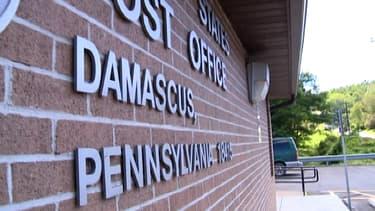 Façade du bureau de poste de Damas, en Pennsylvanie, aux Etats-Unis.