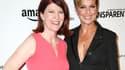 """Les actrices Kate Flannery (à gauche et Melora Hardin, à l'avant-première de """"Transparent"""", la série d'Amazon."""