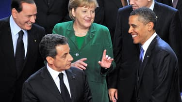 Silvio Berlusconi, Anegla Merkel, Barack Obama et Nicolas Sarkozy en 2001 lors du G20