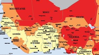 Une carte du Sahel diffusée le 22 septembre 2014 sur le site du Quai d'Orsay. En orange, les pays où les déplacements sont déconseillés sauf raison impérative. En rouge, les pays où les déplacements sont fortement déconseillés.