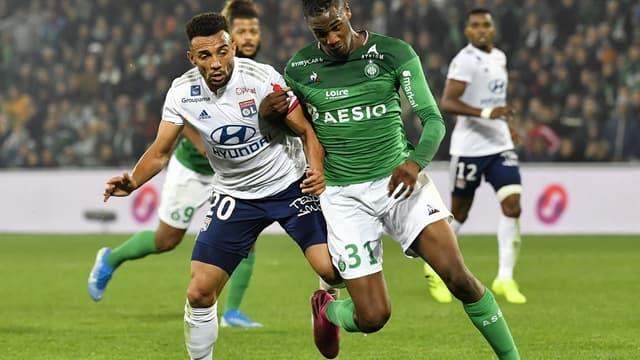 Marçal et Abi en duel lors du derby Saint-Etienne-Lyon