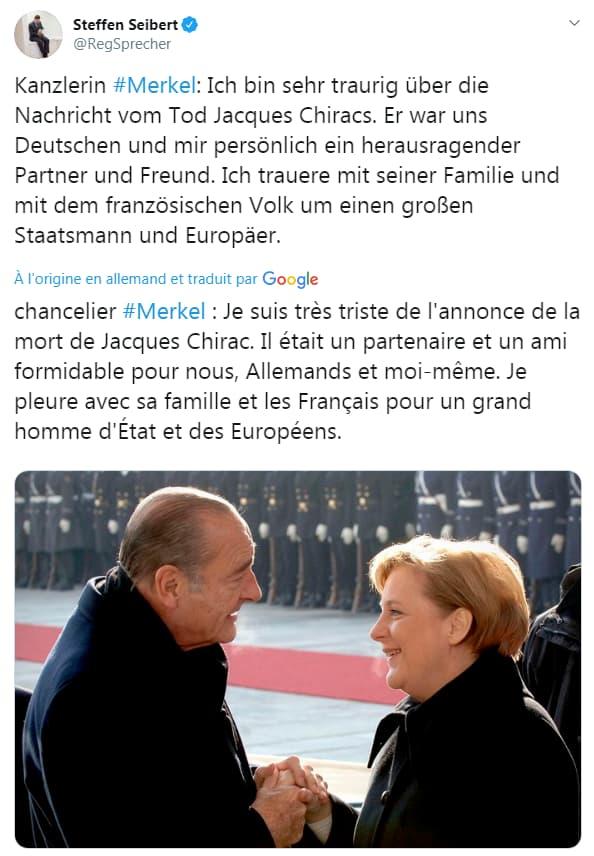 Capture d'écran du compte de Steffen Seibert, porte parole du gouvernement