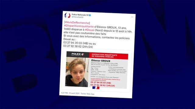Eléonor Groux est portée disparue depuis jeudi 12 août à Douai.