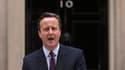 Le Premier ministre britannique David Cameron s'adresse à la nation devant le 10 Downing Street, vendredi 8 mai 2015, après sa large victoire aux législatives.