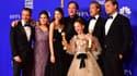 Quentin Tarantino et une partie de l'équipe de Once Upon a Time... in Hollywood sur le tapis rouge des Golden Globes à Beverly Hills (Etats-Unis), le 5 janvier 2020.