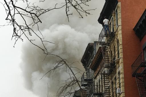 Un incendie dans le quartier d'East Village à New York, le 26 mars 2015