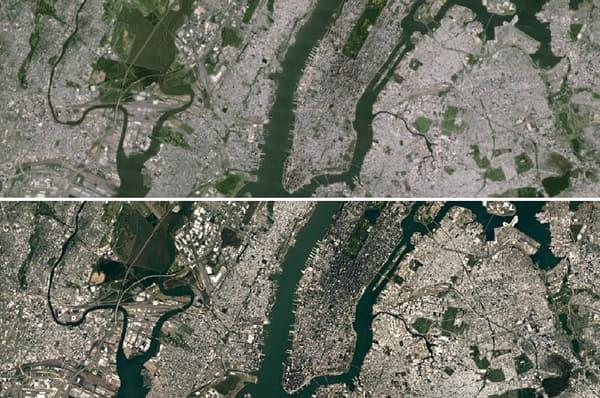 New York vu par Landsat 7, puis par Landsat 8.