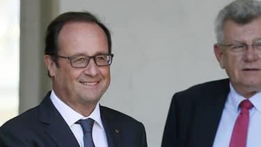 François Hollande et Manuel Valls en 2014 sur le péron de l'Elysée.